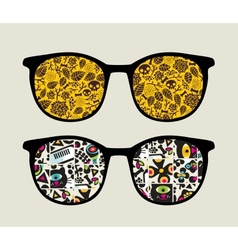Retro sunglasses with monster pattern reflection vector
