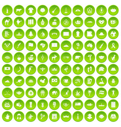 100 landmarks icons set green vector