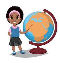 Back to school cute afro-american girl points to vector