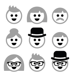 People with grey hair seniors old people icons vector