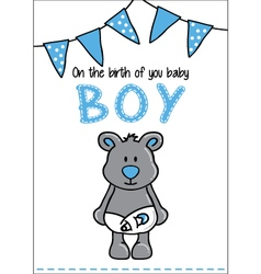 Cute bear baby card vector