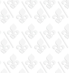 White 3d solid fleur-de-lis with dots vector