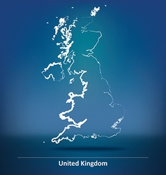 Doodle map of united kingdom vector