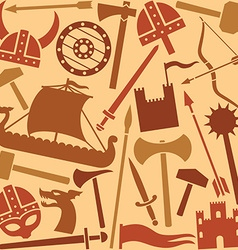 Viking seamless pattern set vector image