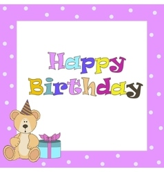 Card with pink teddy bear for girl vector image