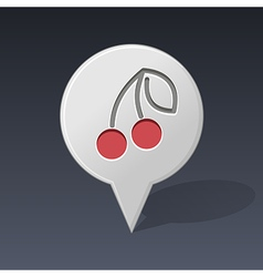 Cherry pin map icon fruit vector