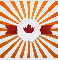 Canada red maple leaf on realistic emblem vector