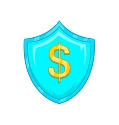 Dollar sign on a sky blue shield with tick icon vector