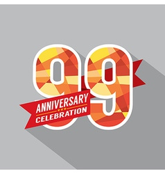 99th Years Anniversary Celebration Design vector image
