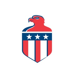 American Bald Eagle Head Flag Shield Retro vector image vector image