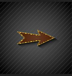 an arrow sign with light bulbs on black background vector image vector image