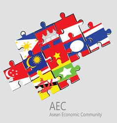 ASEAN Economic Community AEC jigsaw concept vector image vector image