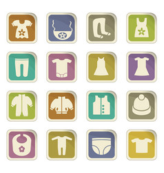 Baby clothes icon set vector