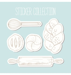 Bakery sticker collection with hand drawn food and vector image vector image