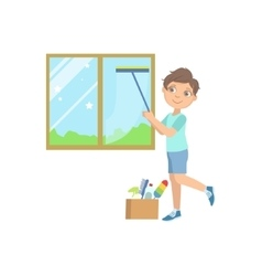 Boy Washing The Window With Wiper vector image