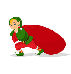 cartoon christmas elf with bag for gifts vector image
