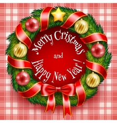 Christmas wreath on a red plaid background vector image vector image