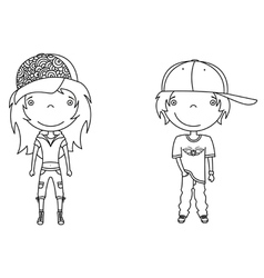 cute modern boy and girl vector image vector image
