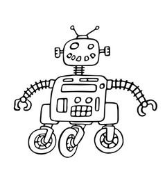 Cute robot on wheels vector