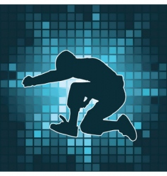 dancing silhouette jump vector image vector image