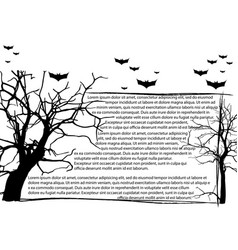 Dead tree without leaves and text frame vector