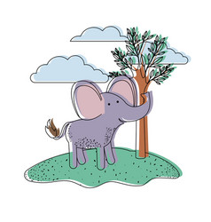 elephant cartoon in outdoor scene with trees and vector image