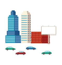 Flat city urban elements buildings and cars vector