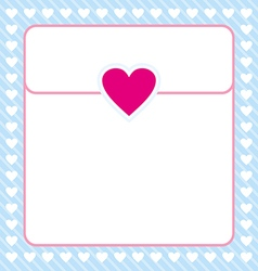 Frame shaped from white heart on blue background vector