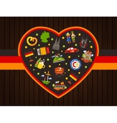 Germany travel heart postcard with famous German vector image