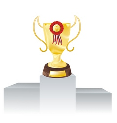 golden cup and red rosette vector image vector image