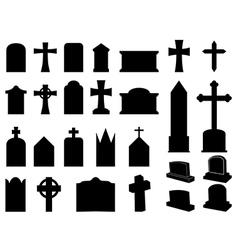 Gravestones and crosses vector image