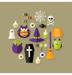 Halloween Witch Flat Icons Set vector image