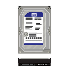 Hard drive side and top view isolated on white vector