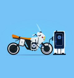 Hybrid motor bike charging at electric charge vector