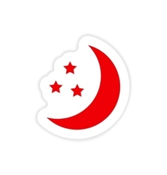Icon sticker realistic design on paper moon star vector