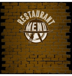 restaurant menu template on a brick background vector image vector image