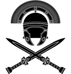 roman helmet and swords third variant vector image