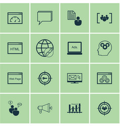 Set of 16 seo icons includes website vector
