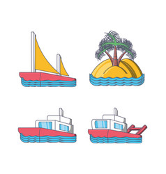 set of beach vacation icons vector image