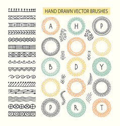 Set of brushes with outer and inner corner vector