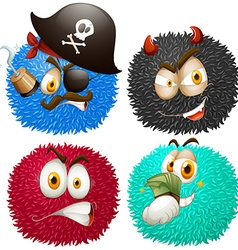 Set of fluffy balls with emoticons vector