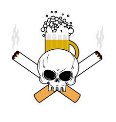 Skull and beer and crossbones cigarettes smoking vector