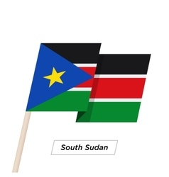 South sudan ribbon waving flag isolated on white vector