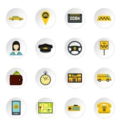 Taxi icons set flat style vector