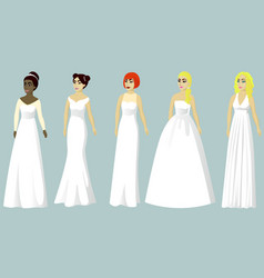 wedding dresses of different styles vector image
