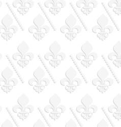 White 3d solid fleur-de-lis with dots vector