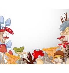 white background with different kind of mushrooms vector image vector image