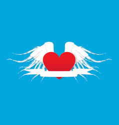wings and heart banner paper style vector image