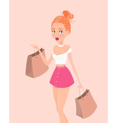 Young hipster girl with shopping bags design vector