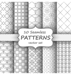 10 Seamless geometric patterns set Grey and white vector image